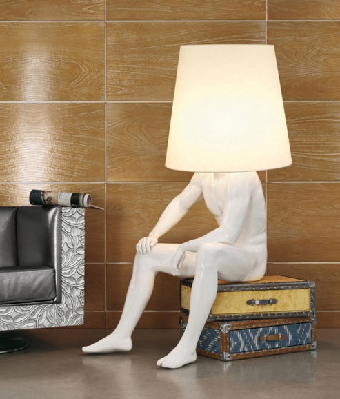 seated man lamp