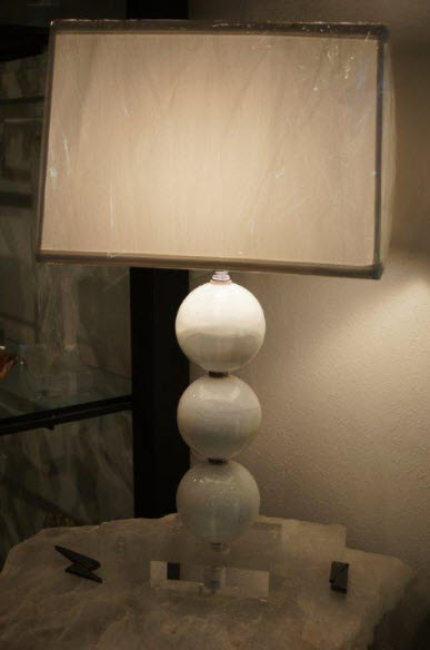 satin spar sphere lamp, selenite lamp