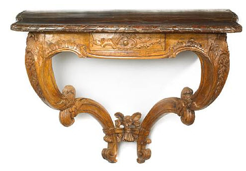 German Rococo faux marble and oak console