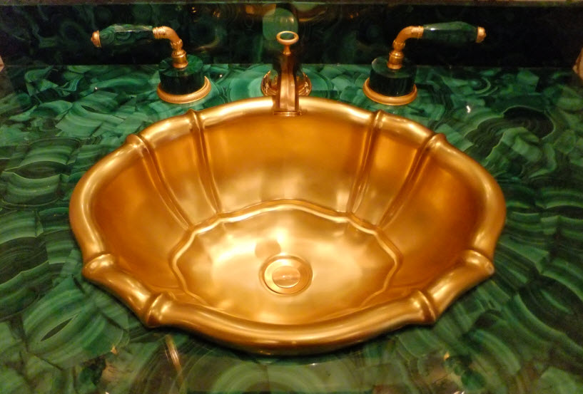 malachite counter, gold sink