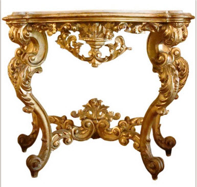 The Above Is A Gilded Louis XV Console With Marble Top.